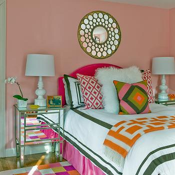 Pink and Green Girl's Bedding, Contemporary, girl's room, Katie Rosenfeld Design