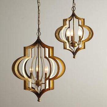 Gold Quatrefoil 3 Light Pendant Lamp