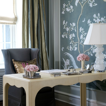 Chinoiserie Office, French, den/library/office, Jessica Lagrange Interiors