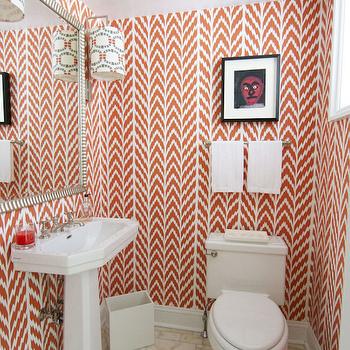 Coral Pink Geometric Wallpaper, Contemporary, bathroom, Morrison Fairfax Interiors