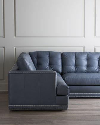 Gray Blue Button Tufted Sectional