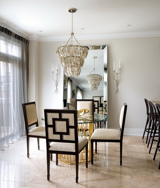 gold leaf dining table - Silver Dining Room Interior