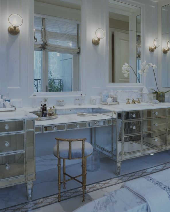 Mirrored Bathroom Vanity, Transitional, bathroom, Jessica Lagrange Interiors