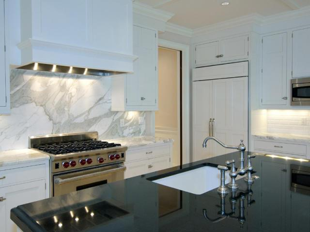 Calcutta Marble Backsplash Transitional Kitchen