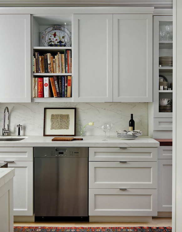 White marble countertops transitional kitchen best - Kitchen cabinets in nyc ...