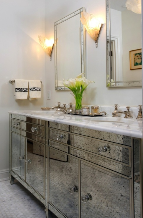 Antique Mirrored bathroom Vanity - Antique Mirrored Bathroom Vanity - Hollywood Regency - Bathroom