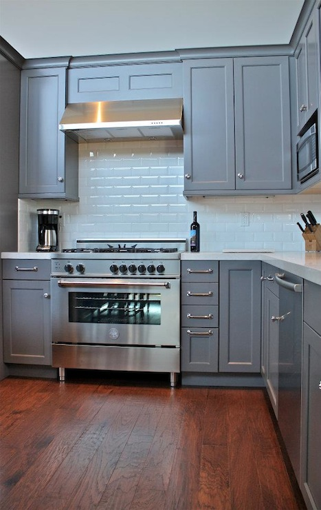 Gray kitchen cabinets transitional kitchen william for L shaped bedroom cupboards