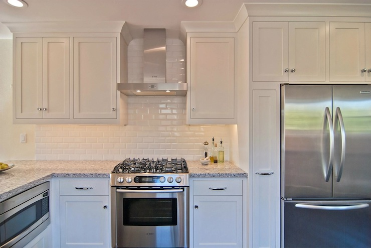 subway tile backsplash view full size all white kitchen design with shaker cabinets and brushed nickel hardware - White Kitchen With Subway Tile Backsplas