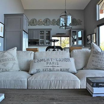 French Grain Sack Pillows, French, living room, William Adams Design