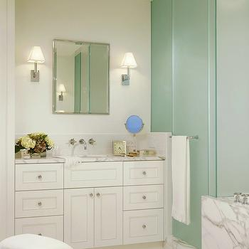 Frosted Glass Shower, Transitional, bathroom, Jessica Lagrange Interiors