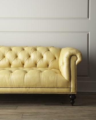 Fenway Tufted Leather Sofa Neiman Marcus