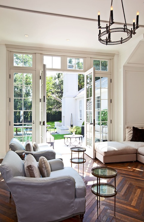 Herringbone Wood Floor Transitional Living Room Benjamin Moore White Dove Veranda