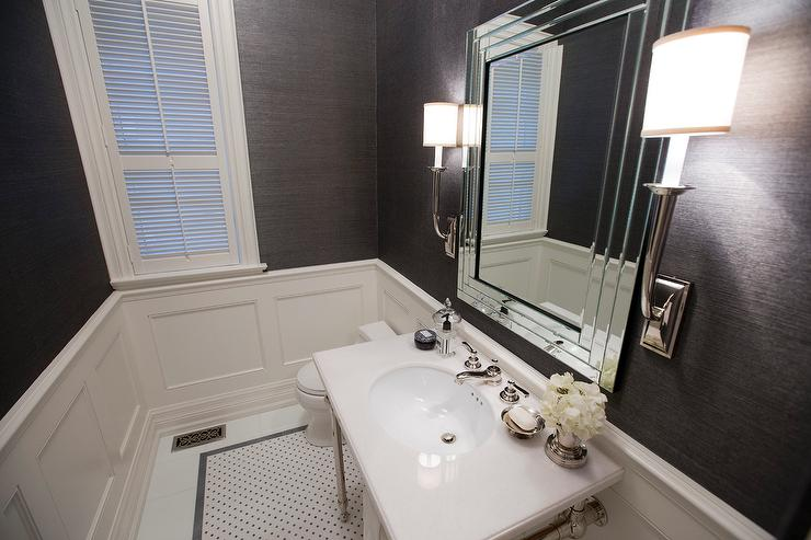 Gray contemporary bathroom by jennifer backstein interiors for Gray bathroom wallpaper