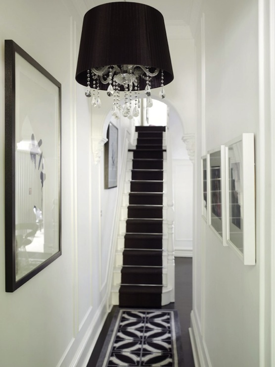 Black And White Hallway Transitional Entrancefoyer