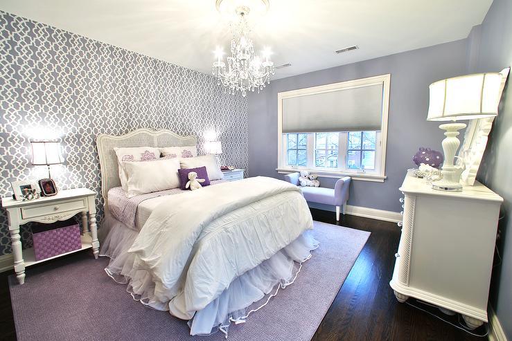 purple trellis girl bedroom rug design ideas