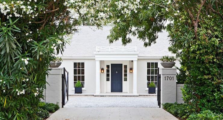Blue front door transitional home exterior veranda - Front doors on white houses ...