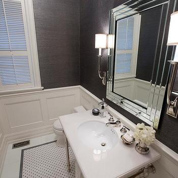 Charcoal Grey And White Mosaic Marble Tile Design Ideas