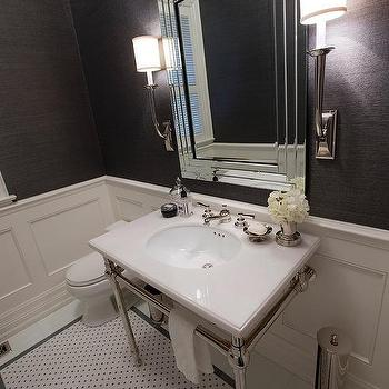 Charcoal grey and white mosaic marble tile design ideas for Charcoal bathroom accessories