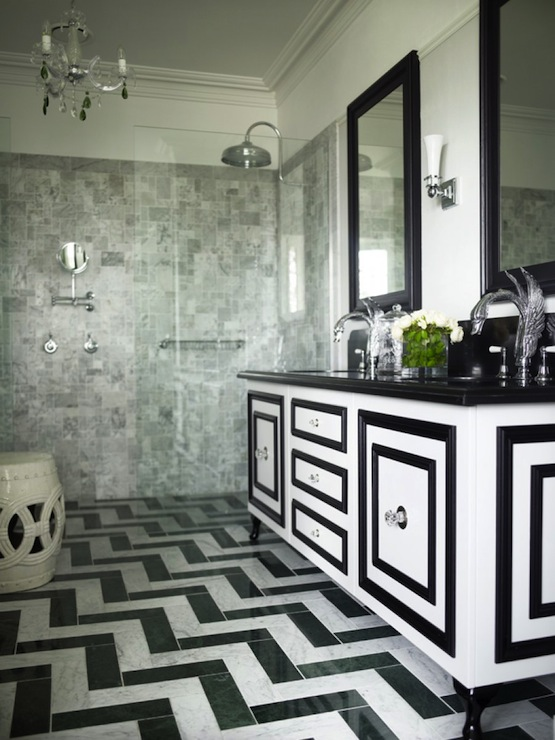 Black and white bathroom transitional bathroom greg for Black and white bathroom sets