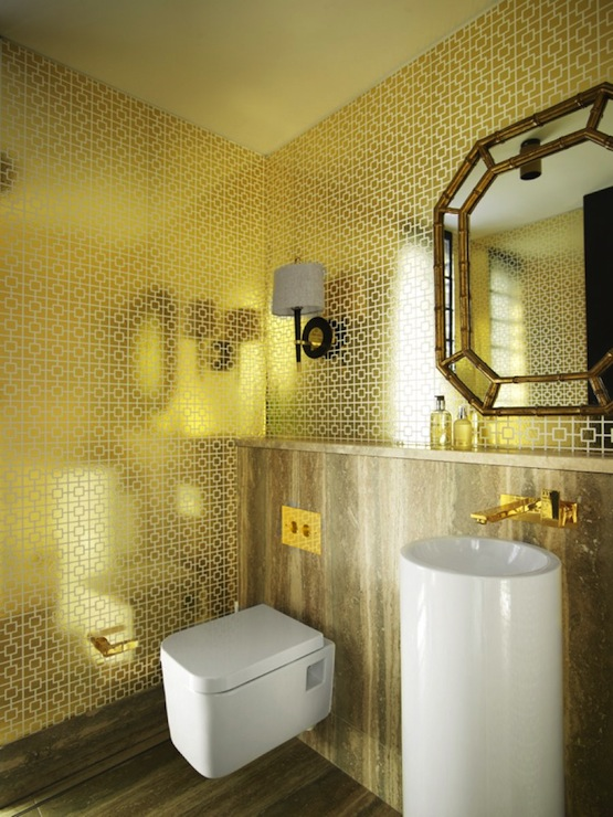 Metallic Wallpaper Modern Bathroom Greg Natale