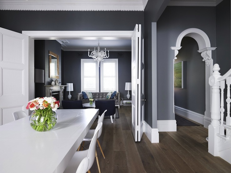 View Full Size Dining Room With Dark Gray Walls