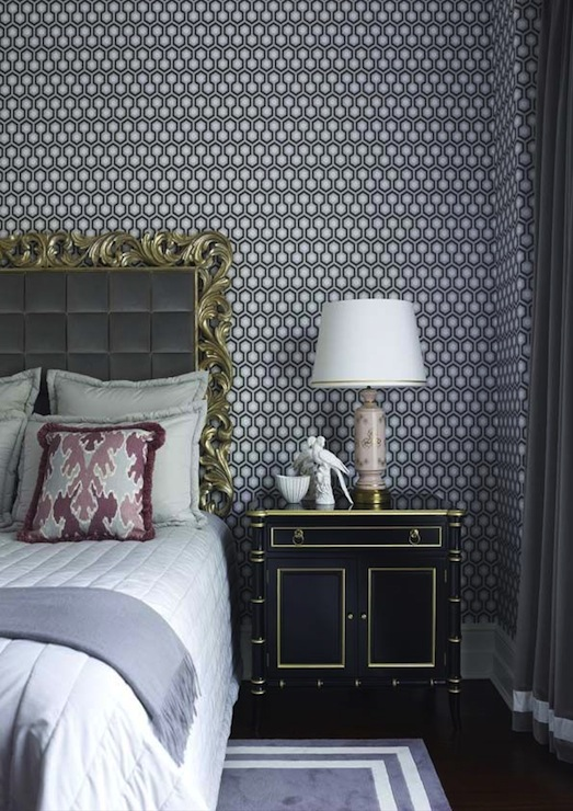 ornate headboard hollywood regency bedroom greg natale. Black Bedroom Furniture Sets. Home Design Ideas