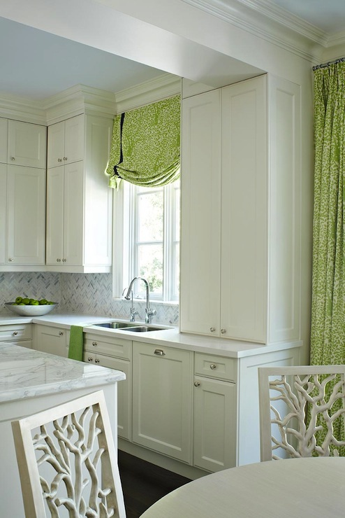 white kitchen cabinets with green tiles design ideas
