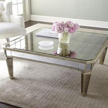 Mirrored Square Gold X Base Coffee Table