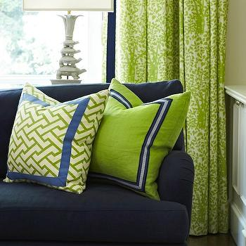 Blue And Green Living Room blue sectional with green pillows design ideas