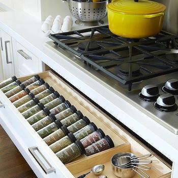 Cooktop Spice Rack Drawer, Transitional, kitchen, Anne Hepfer Designs