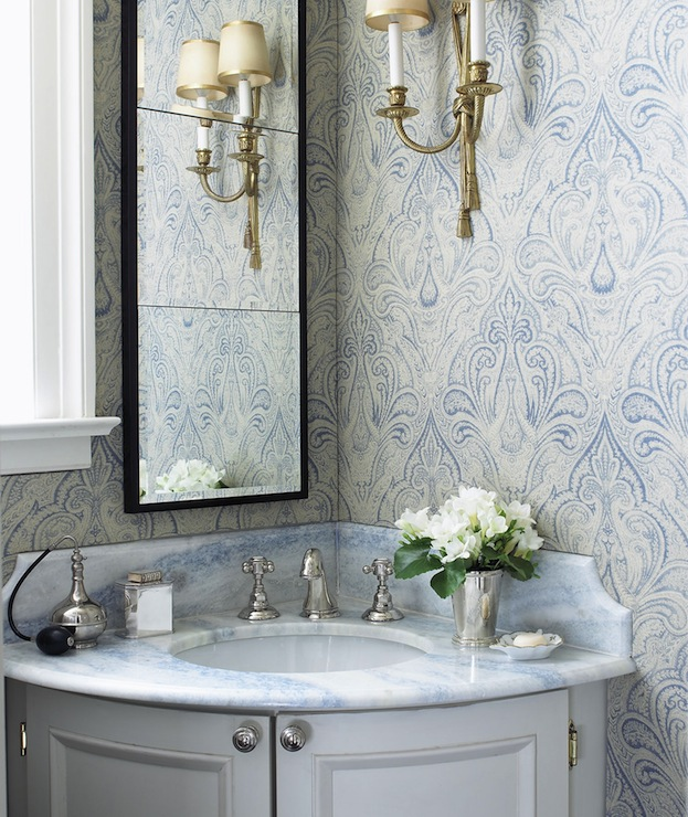 Gray and blue bathroom design ideas for Gray bathroom wallpaper