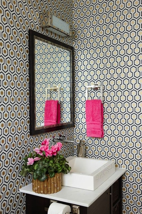 David Hicks Hexagon Wallpaper - Contemporary - bathroom - Anne Hepfer Designs