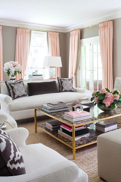 Pink And Brown Living Room Contemporary Living Room
