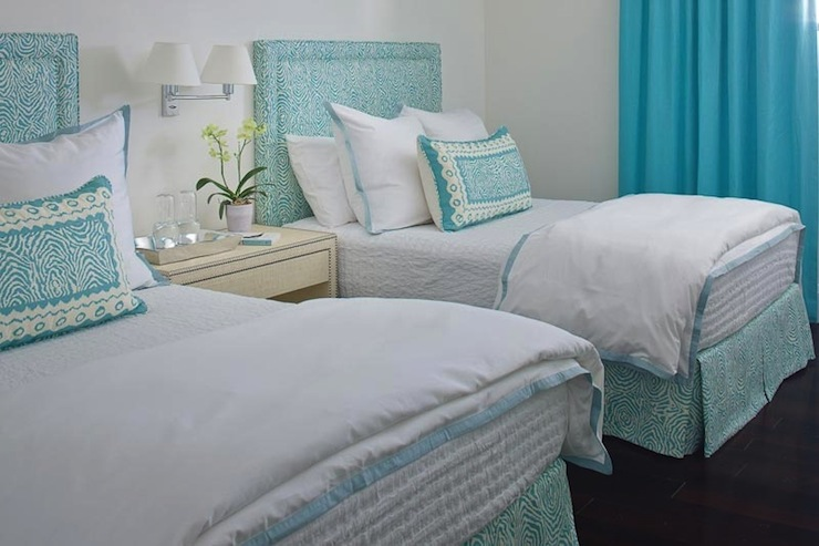 turquoise drapes contemporary bedroom anne hepfer designs