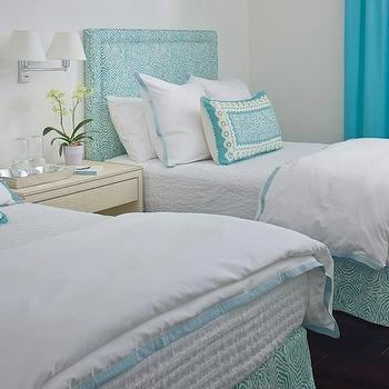 Turquoise Drapes, Contemporary, bedroom, Anne Hepfer Designs