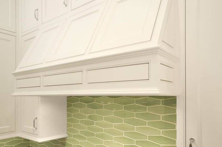 Green Geometric Tile Backsplash Contemporary Kitchen Benjamin Moore Super White Mueller