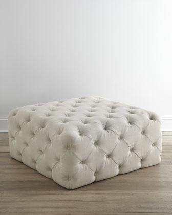 Tufted Round Ottoman In Spring Green With Button Detail