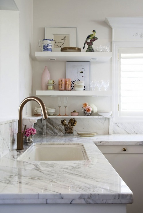 White Kitchen Shelf marble kitchen shelves design ideas