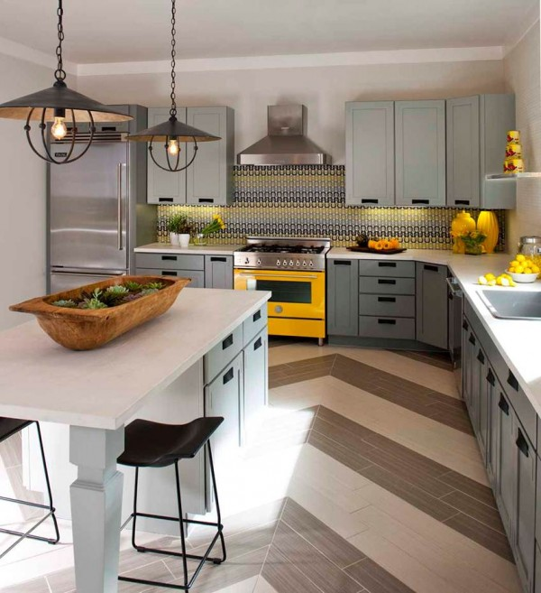 Delicieux Yellow And Gray Kitchen