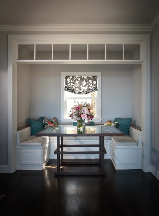Built in banquette traditional dining room andrea may for U shaped dining room table