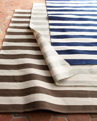 Reversible Striped Indoor Outdoor Rug Blue Pottery Barn