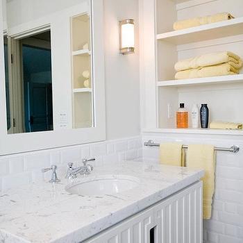 Modern White Bathroom Vanity, Transitional, bathroom, Andrea May Hunter Gatherer