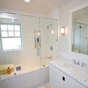 Subway Tile Shower, Transitional, bathroom, Andrea May Hunter Gatherer