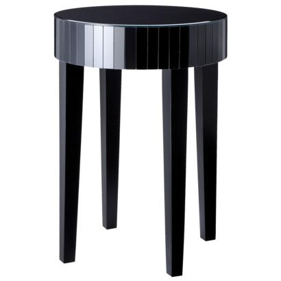 Round black mirrored accent table for Black round end table