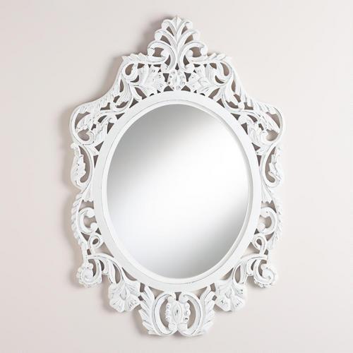 White Oval Olivia Carved Mirror, World Market