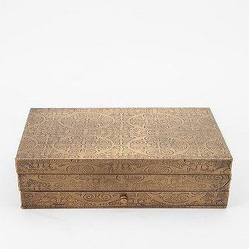 Embossed Flower Brass Jewelry Box, Urban Outfitters