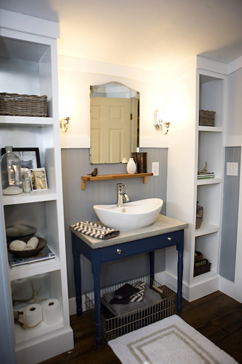 view full size  Masculine. Blue Boy s Bathroom   Transitional   bathroom   Kara Paslay Designs