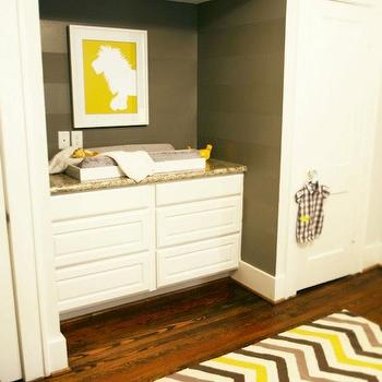 Yellow and Brown Chevron Rug, Contemporary, nursery, Marie Flanigan Interiors
