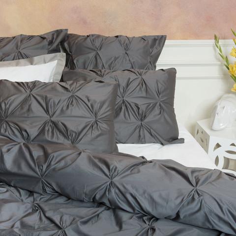 dark gray pintuck duvet cover by crane canopy. Black Bedroom Furniture Sets. Home Design Ideas
