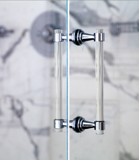 Lucite Chrome Or Brass Shower Door Pull Handles